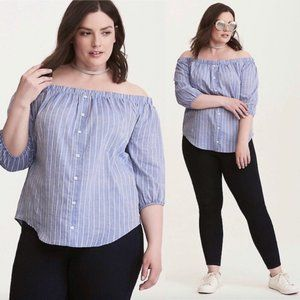 Torrid CHAMBRAY STRIPED BUTTON FRONT OFF SHOULDER